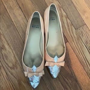 Patent leather blush pink and silver flats